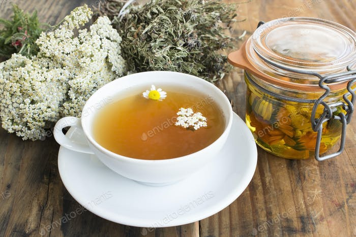 Herbal Medicine, Tea, Yarrow, Savory, Chamomile and Calendula Oil