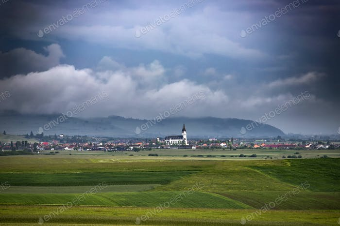 Rural landscape of Ditrau village, Transylvania landmark, Romania