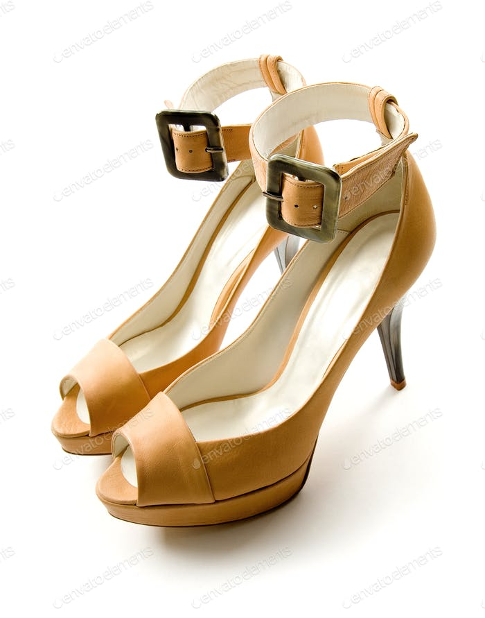 Elegant ankle strap nude peep toe bone stilettos pair