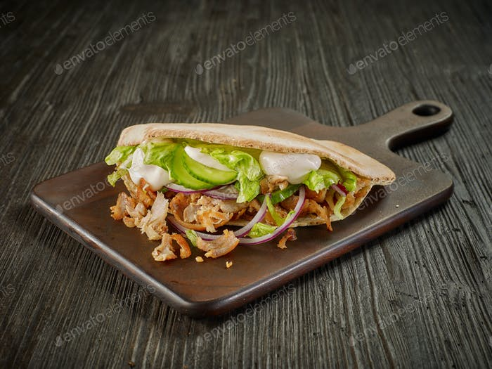 doner kebab on wooden table