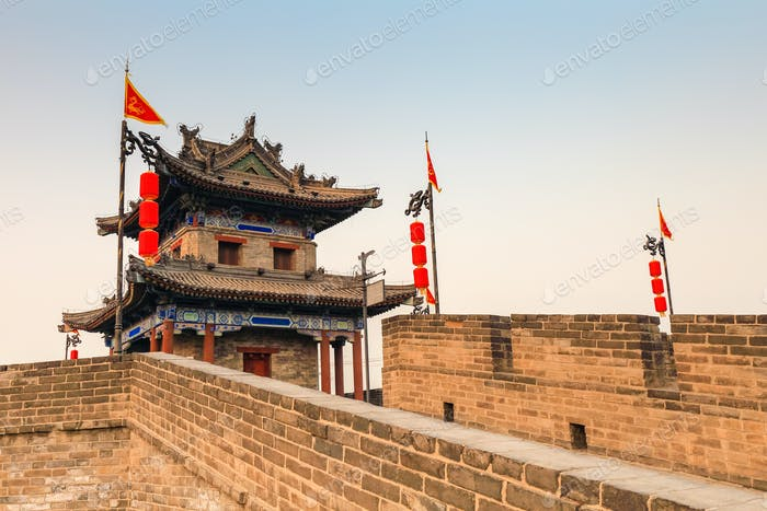ancient turret on xian city wall