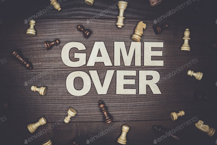 game over concept on wooden background