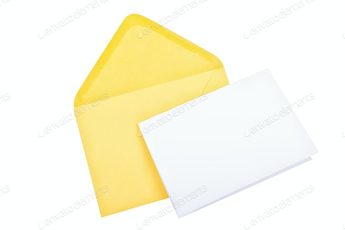 Yellow envelope with blank paper on a white background