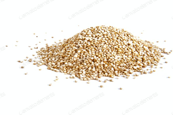 A handful of Quinoa on a white background.