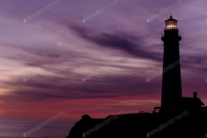 Pigeon Point Lighthouse at sunset, built in 1871