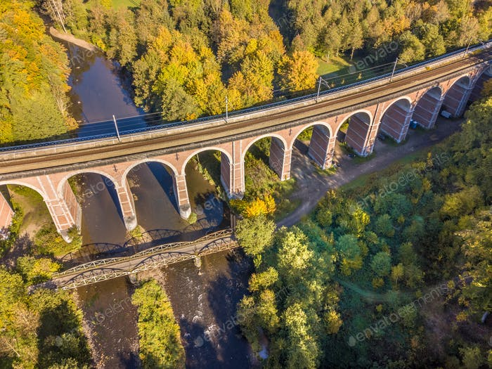 Thumbnail for Aerial view of Old Stone railroad bridge