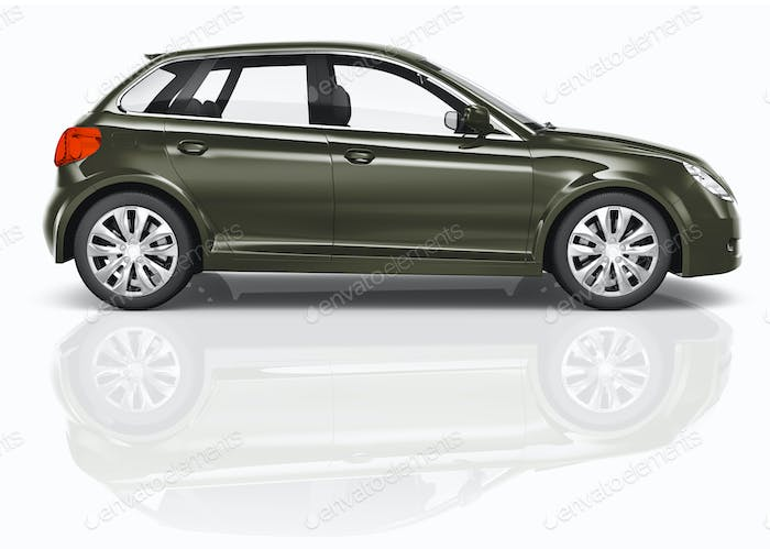 Dark Green 3D Hatchback Car Illustration