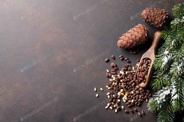 Pine nuts on stone table