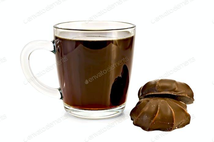 Coffee in glass mug with marshmallow