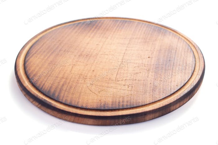 pizza cutting wooden board on white background