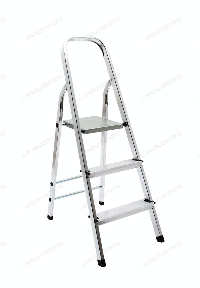 metal ladder isolated on white with clipping path
