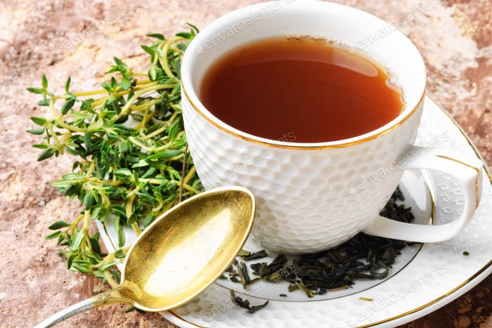 Healthy herbal tea with thyme