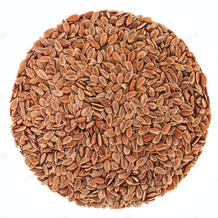 Perfect circle of Linseeds isolated on white