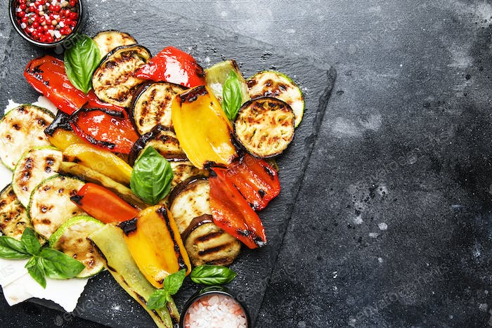 Grilled multicolored vegetables, aubergines, zucchini, pepper