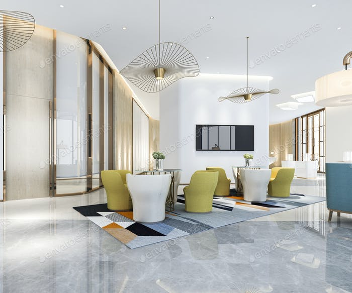 3d rendering luxury hotel reception hall and office with modern minimal counter