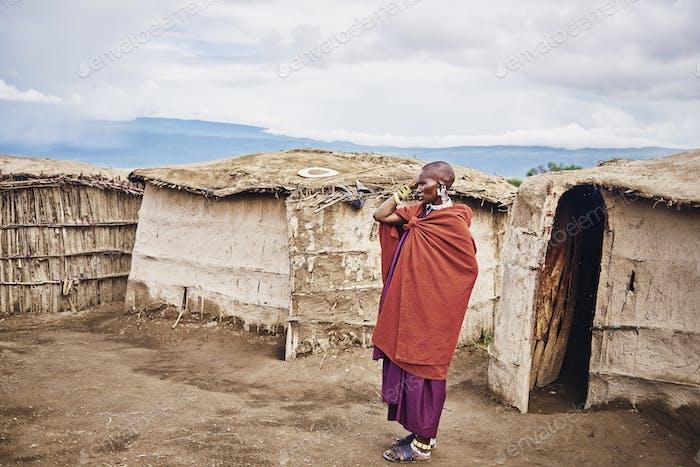 Masai man in the village in Africa, Tanzania,  Africa- 01 February 2020