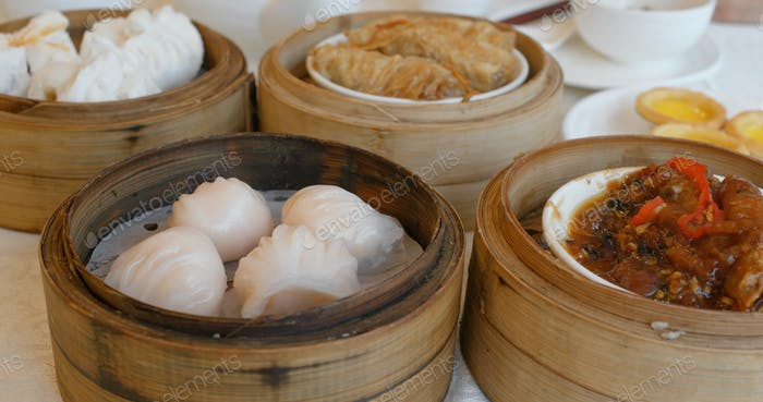 Chinese dim sum in restaurant