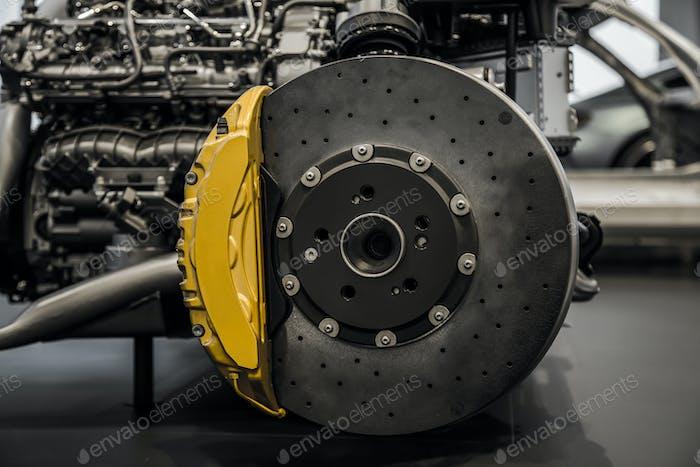 Car brake disc and caliper. car braking system