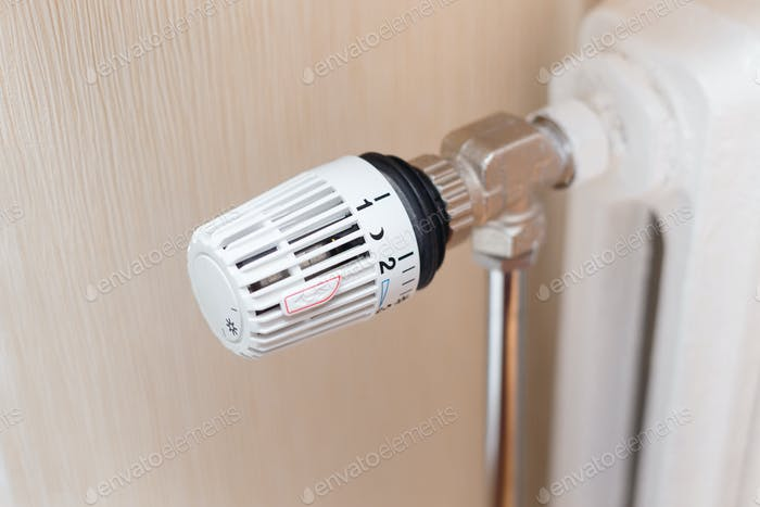 thermostatic valve on radiator close up
