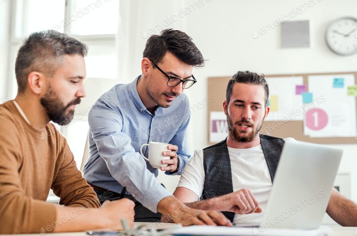 Group of young businessmen with laptop working in a modern office.