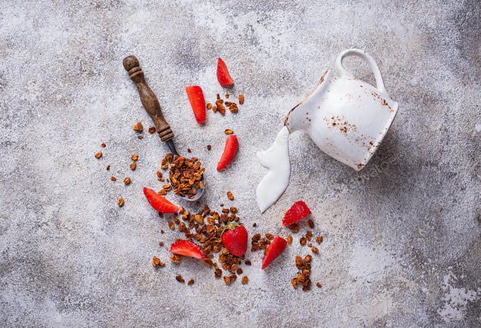 Granola and strawberry, healthy breakfast