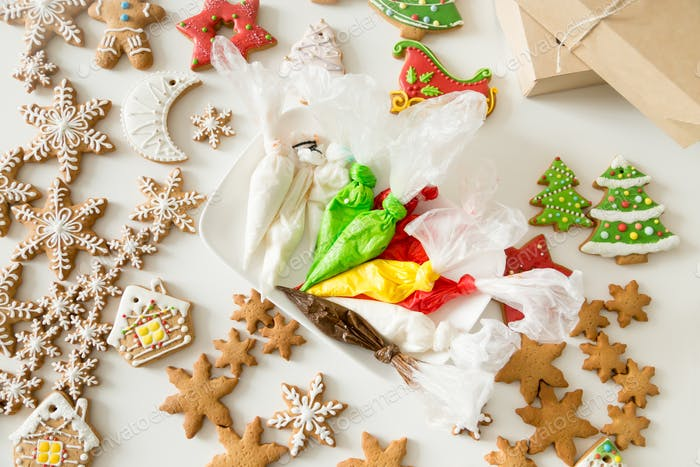 Top view of christmas bakes and pastry bags