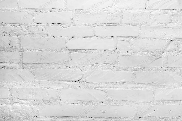 White painted brick wall background