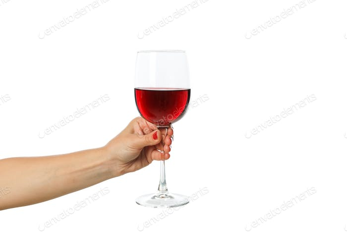 Female hand hold glass with wine, isolated on white background