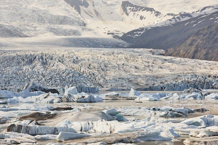 Fjallsarlon icebergs and glacier lagoon. Stunning white landscape in Iceland
