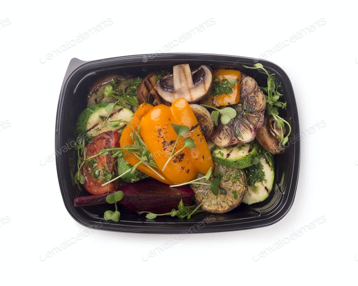 Grilled vegetables in black delivery box for Diet nutrition