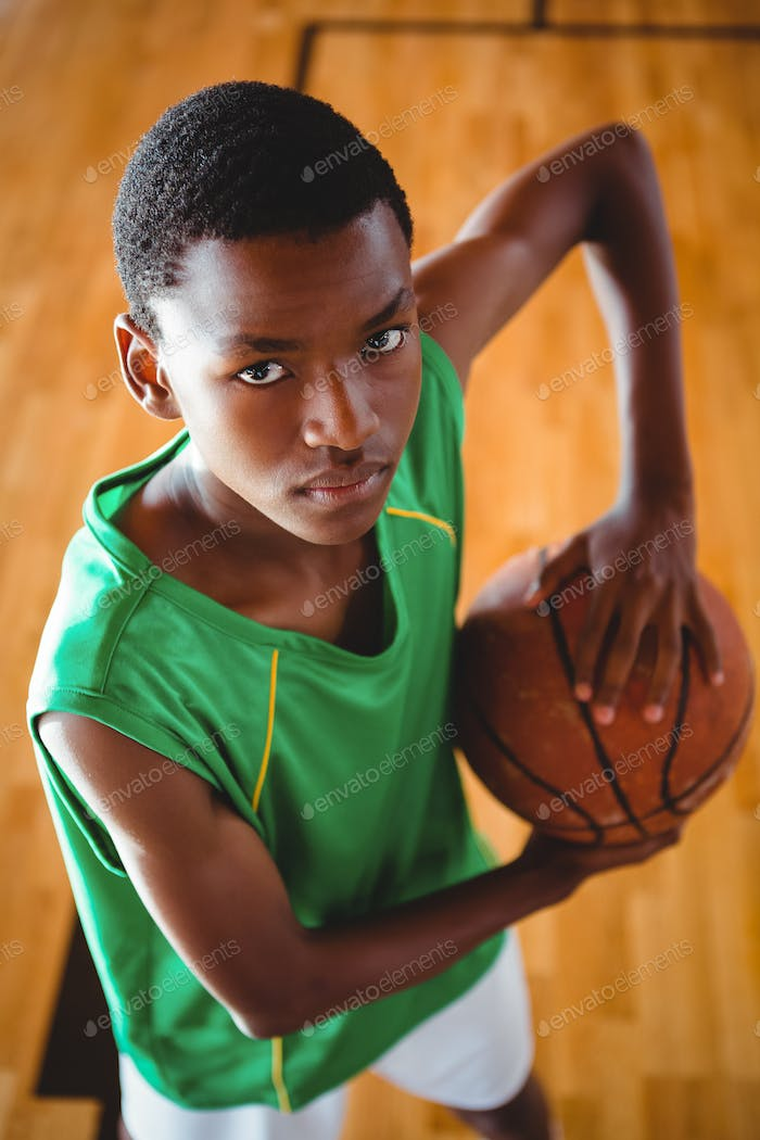 Close up portrait of teenage basketball player