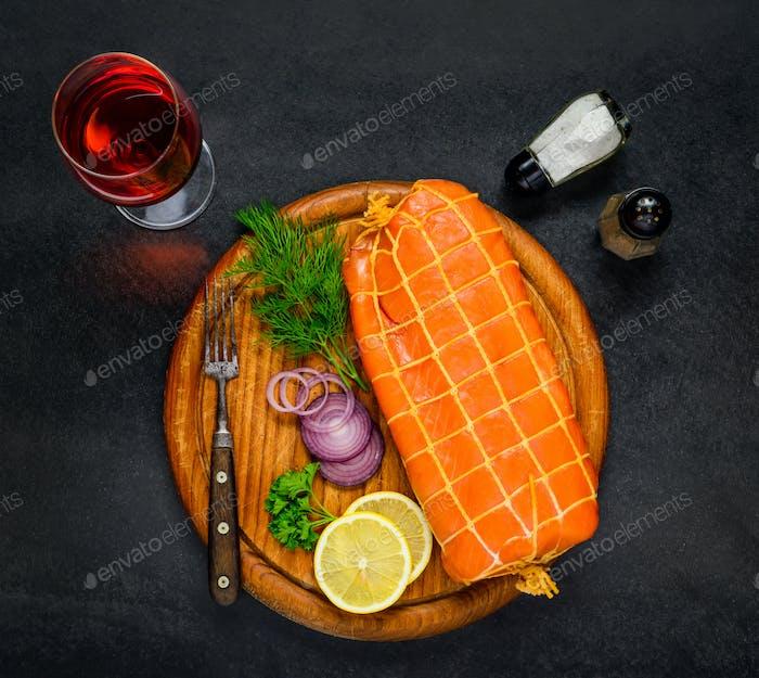 Smoked Salmon Fish with Rose Wine