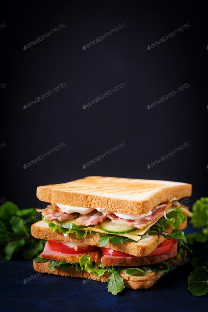 Big Club sandwich with ham, bacon, tomato, cucumber, cheese, eggs and herbs on dark background