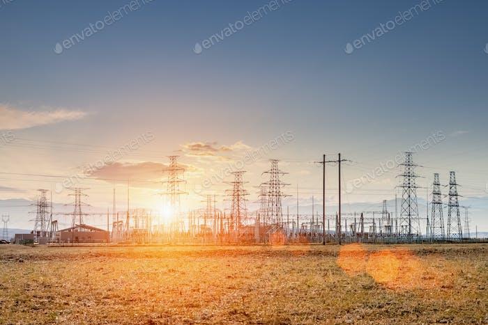 transformer substation in sunset