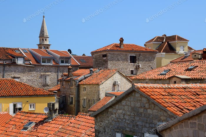 Houses in old town of Budva, Montenegro