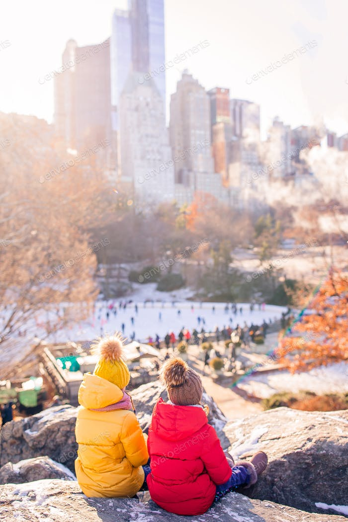 Adorable little girls in Central Park at New York City