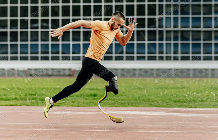 physically disabled athlete running