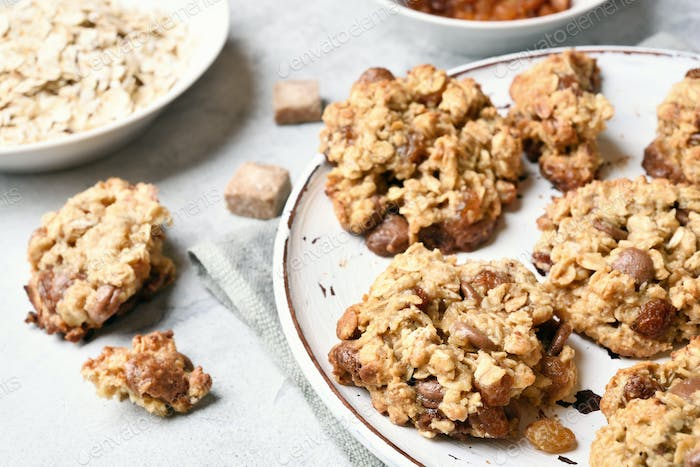 Oatmeal cookies, close up view