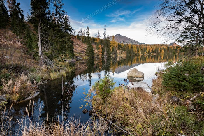 Autumn foliage reflection in alpine lake