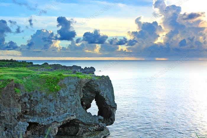 sunset with rock , Okinawa , Manzamo