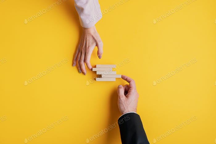 Conceptual image of business stability and teamwork