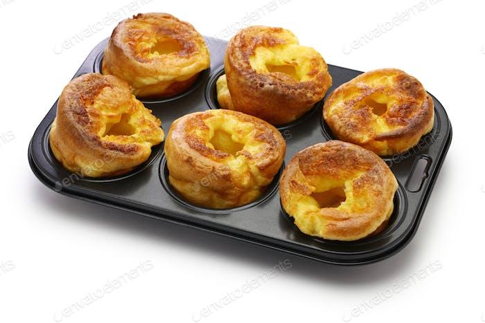 homemade freshly Yorkshire puddings, traditional British side dish