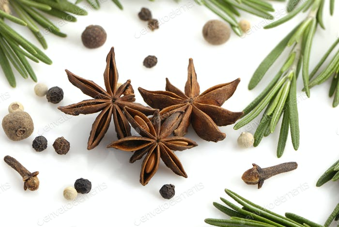 Rosemary, peppercorn, cloves and anise