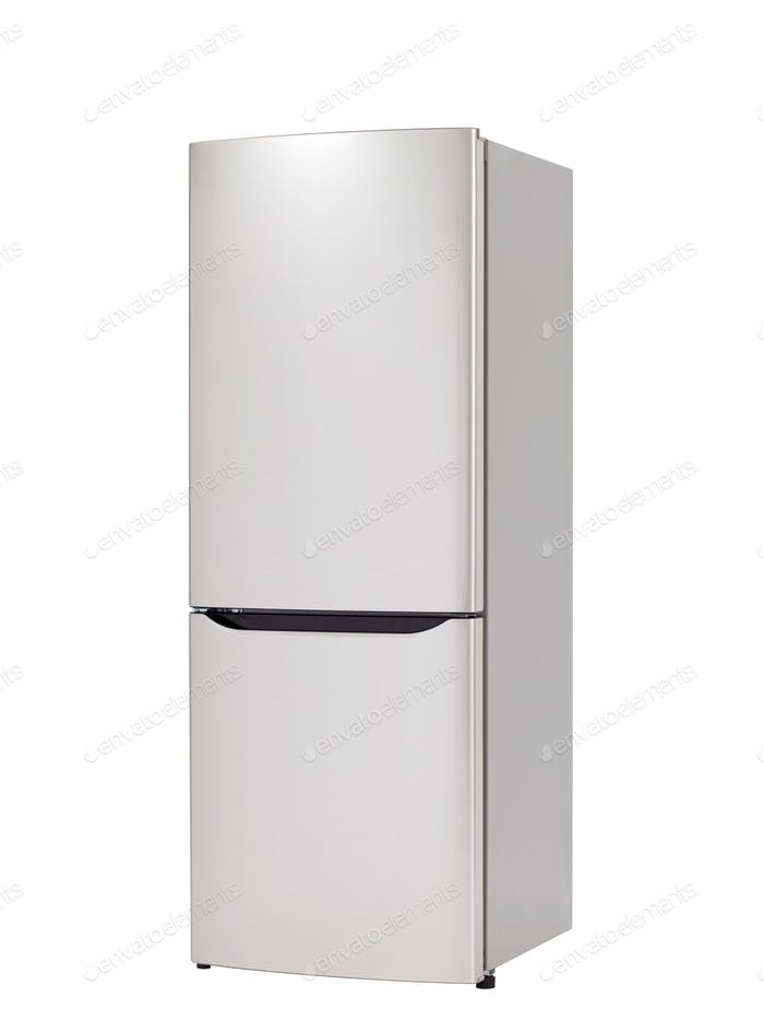 Modern refrigerator isolated on white background