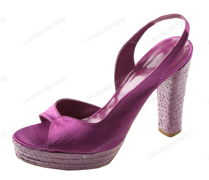 Purple satin peep toe