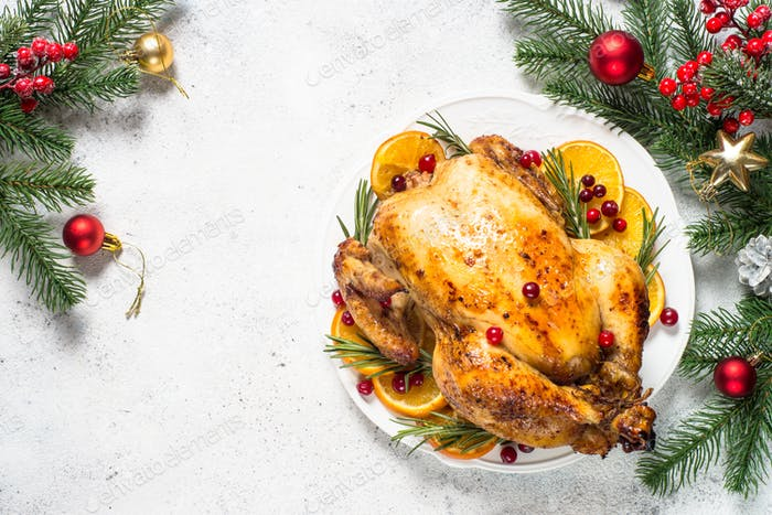 Chrismas chicken baked with cranberry, orange and rosemary. Christmas food