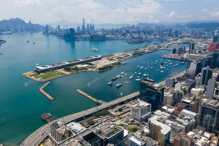 Kowloon Bay, Hong Kong 03 September 2018:- Aerial view of Hong Kong skyline