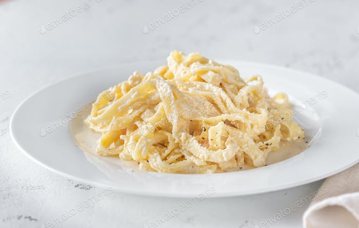Portion of Shrimp Alfredo Pasta