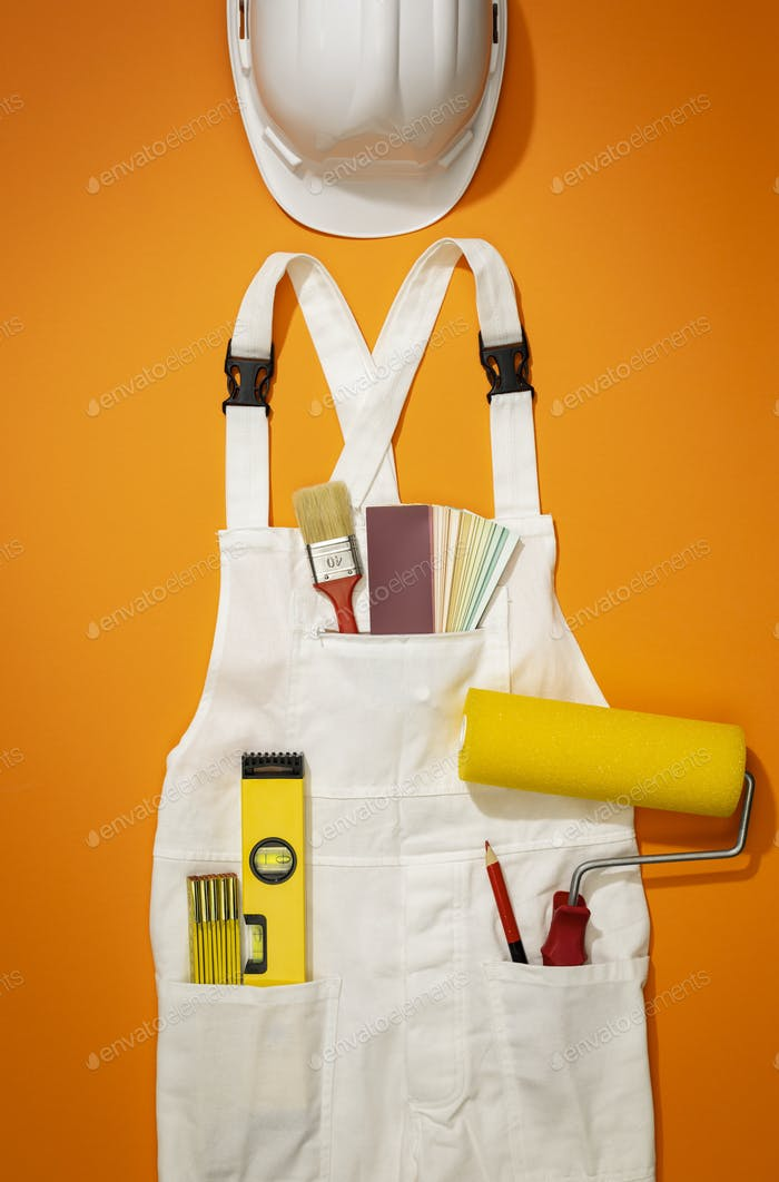 Painter and decorator work uniform with tools