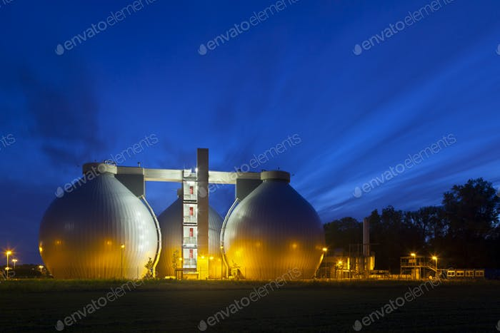 Sewage Plant At Night